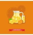 jug with lemonade and ice vector image