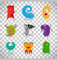 cartoon cute monsters on transparent background vector image