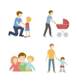 Fatherhood color flat icons set father playing vector image