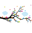 Colorful birds sitting on tree branch vector image