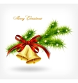 Golden bell with red bow hanging on a green spruce vector image