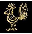 Golden glitter Rooster on background template for vector image