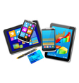 Office and home tablet computers mobile phones of vector image