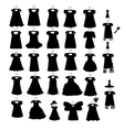 Set of dresses silhouette iseamless pattern vector image