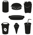 set icons of fast food black silhouette vector image vector image