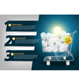 Creative Template light bulb in the shopping cart vector image vector image