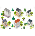 Europe Building Set Tint Cartoon Isometric 3d vector image