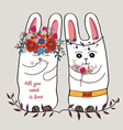 Cute card with lovely Rabbit couple rabbit in a vector image