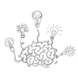 Brain and many idea light bulbs vector image