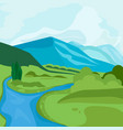 landscape with mountain peaks and river vector image