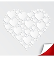 Valentines heart of paper on white background vector image