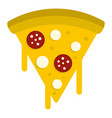 tasty slice of pizza with melted cheese icon vector image