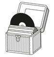 Vinyl storage case  outline vector image
