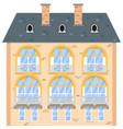 brick house isolated on white background vector image