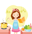 Girl Cooking Soup With Cookbook vector image