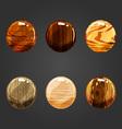 Set of round volume wooden buttons vector image