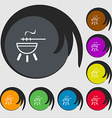 barbecue icon sign Symbols on eight colored vector image