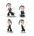 young japan samurai cartoon character vector image
