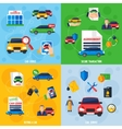 Car Dealership 4 Flat Icons Square vector image