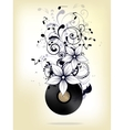 Abstract music background with notes and floral vector image