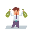 Business Man with Bags of Money Cartoon Character vector image