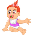 cute baby girl cartoon waving vector image