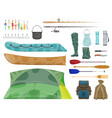 fishing sport equipment and fisherman gear icon vector image