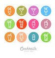 flat icon design isolated cocktails icons vector image