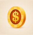 gold coin of dollar isolated on bright background vector image