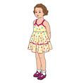 kid portrait baby girl in retro fashion summer vector image