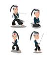 young japan samurai cartoon character vector image