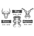 zodiac signs of virgo taurus and capricorn vector image