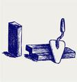 Trowel and bricks vector image