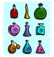 Set of colorful bottles with spirits hand-drawn on vector image