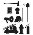 set icons of firefighting equipment black vector image vector image