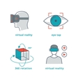 Virtual reality signs set for 3D games and 360 vector image vector image