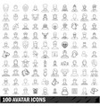 100 avatar icons set outline style vector image