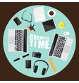 Working place of creative team in flat design vector image