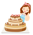 Big Cake With Girl Thump Up vector image