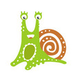 Cute friendly snail character funny mollusk vector image