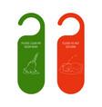 hotel door red and green hanger do not disturb vector image