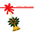 New Year Card with Christmas Poinsettia Flower vector image