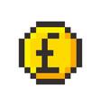 pixel art pound golden coin retro video game vector image