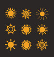 set of glossy sun images vector image