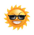 Sun with funny face in sunglasses isolated vector image