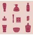Women cosmetic isolated pink icons vector image