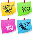 Safety First Sticky Note vector image