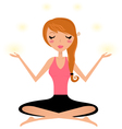 Cute woman doing yoga asana isolated on white vector image