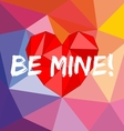 Be mine card with heart on wrapping surface vector image