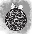 Christmas greeting card with cute hand drawn text vector image